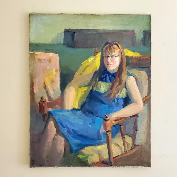 """The Redhead"" Original VTG Oil on Canvas Portrait"